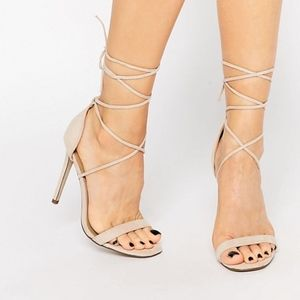 NWT Missguided Lace Up Barley There Heeled Sandals